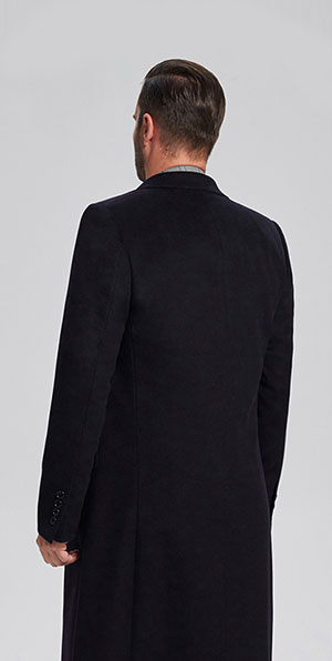 navy blue Notched lapel business cashmere coat