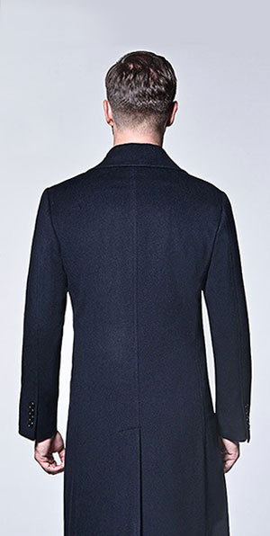 blue 100% wool business coat for men