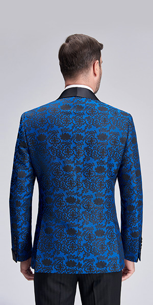 Elegant blue jacquard wedding dress suit blazers