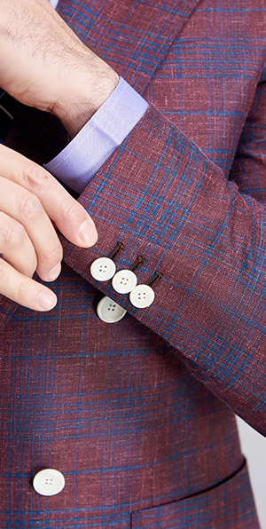 Blue grid and red matched fashionable suit jacket