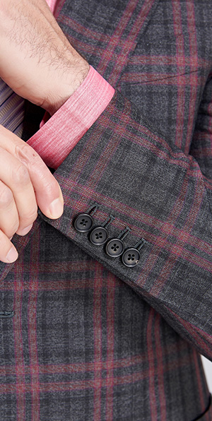 red checked gray suit blazer for men