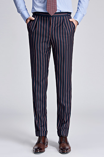 Red and white stripes Navy blue modern fit suit pant