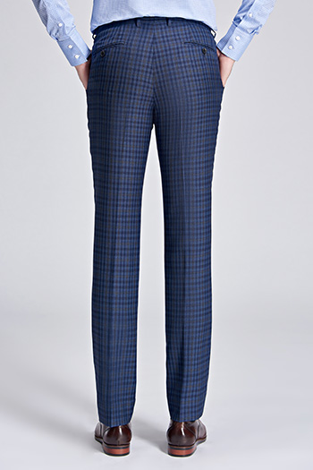 Brown small square blue formal suit pant