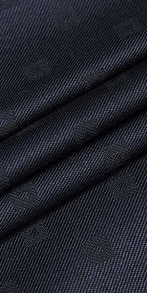 Navy blue jacquard 100% wool classic suit