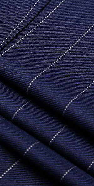 Blue wide stripes single 2 button suit