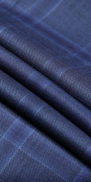 100% wool blue plaid Luxury suits
