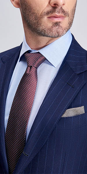 Light grey stripe elegant blue suit