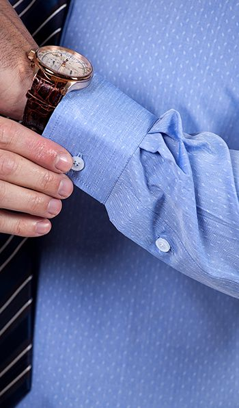 Classic blue made to measure shirt with white dots