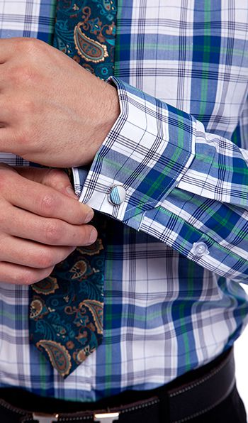 Modern Blue and White Checks Men Shirt