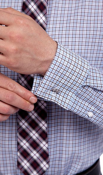 Blue Checks French Cuff Custom Dress Shirt