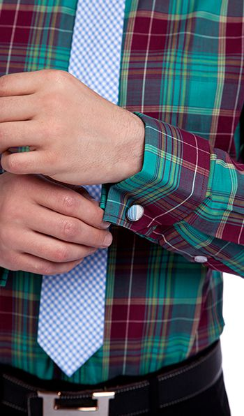 Dark Green and Red Checks Causal Shirts for Men