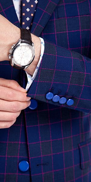 Premium Blue Windowpane Slim Fit Suit