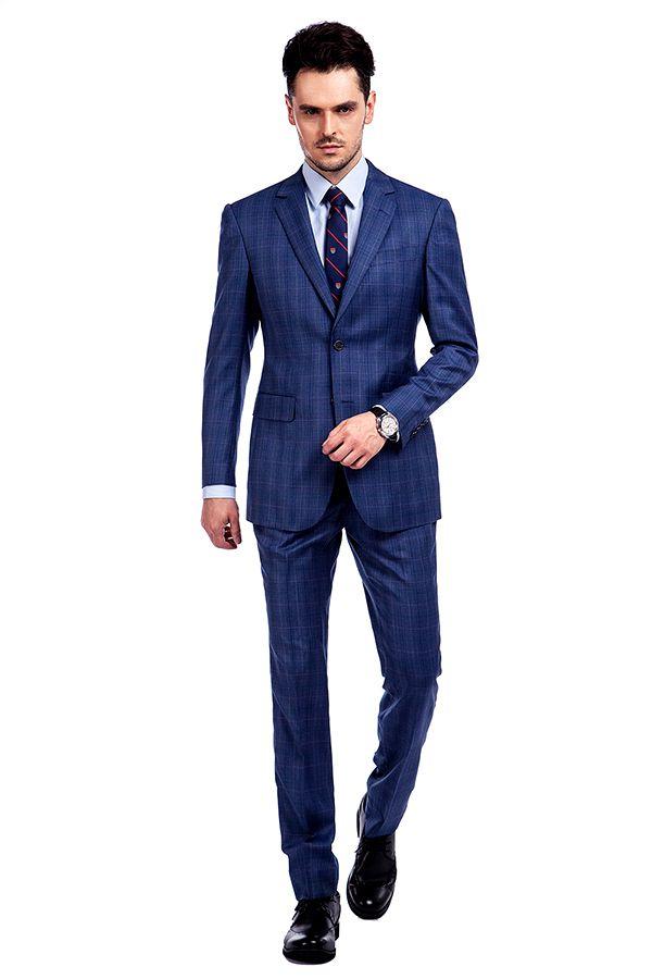 Arriving Premium Blue Checks Wool Suit For Men