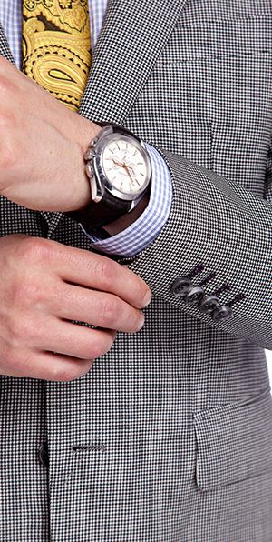 Grey Houndstooth Wool Suits for Men