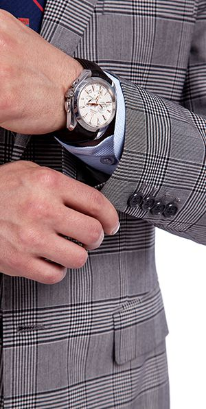Made to Measure Grey Checks Wool Suits for Men