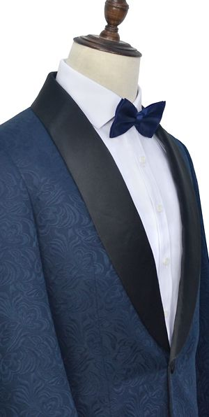 Navy blue jacquard custom luxury suit