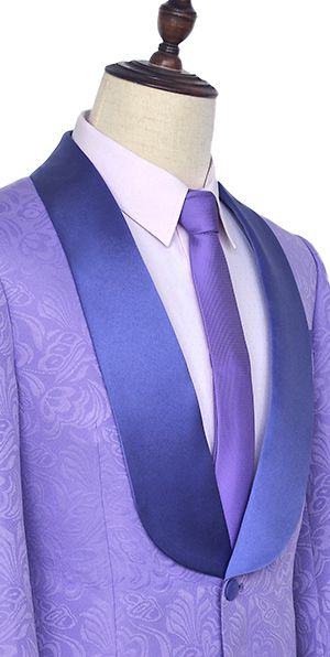 Light purple jacquard customized party suits