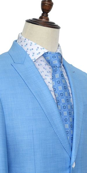 Light blue wool two button casual customized suit for men