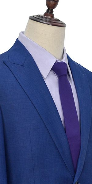 Navy blue wool one button customized suits for office