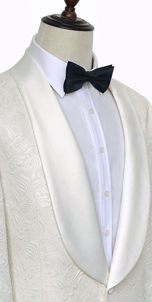 Pure white jacquard Shoal lapel collar tailored wedding suit for groom