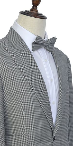 Gray wool small grid literary one botton leisure tailored suit