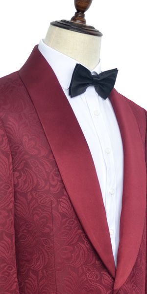 Deep red jacquard custom wedding suit