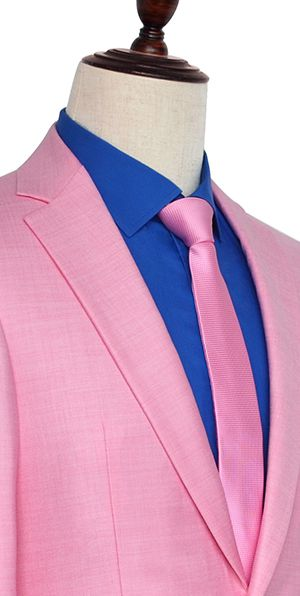 bright pink wool three slant pocket custom made suit for office
