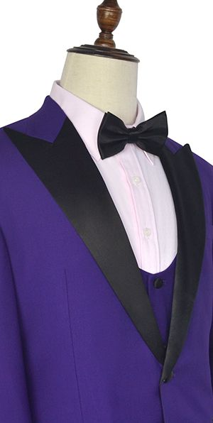 Purple black collar wool Peak lapel three-piece wedding suit for groom