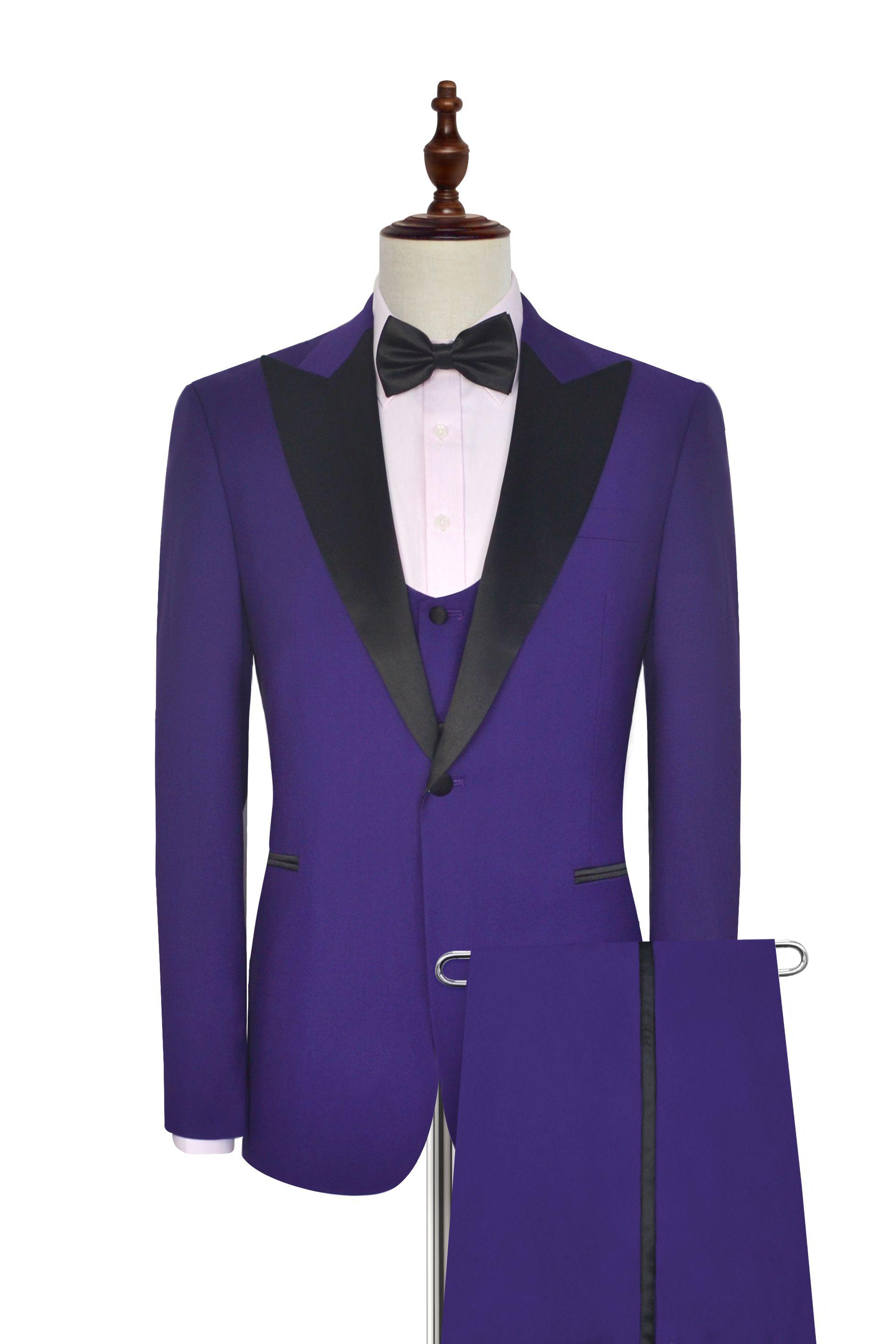 black collar wool Peak lapel three-piece wedding suit for groom