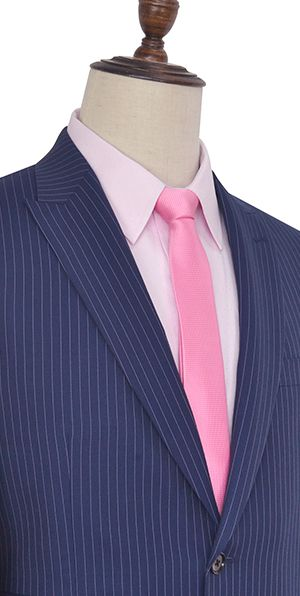 Blue vertical stripes wool Peak lapel high-end tailored suit for office