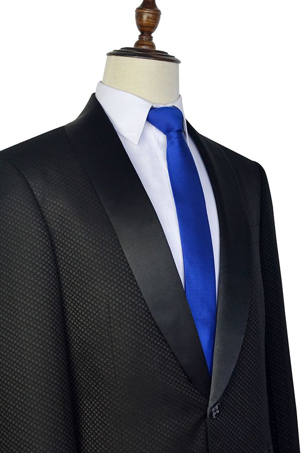 small squares jacquard one button unique wedding suit for groom