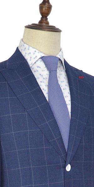 Dark blue wool large grid two botton suit for men