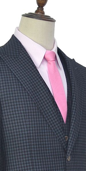 Dark wool gray small grid one button three-piece suit for men