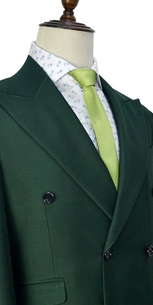 Green wool double-breasted tailored suit for formal