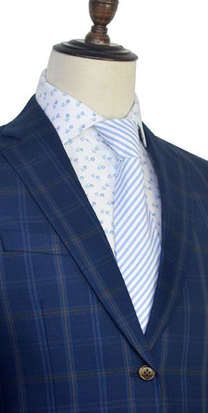 The blue and yellow wool Notched lapel plaid suit for formal