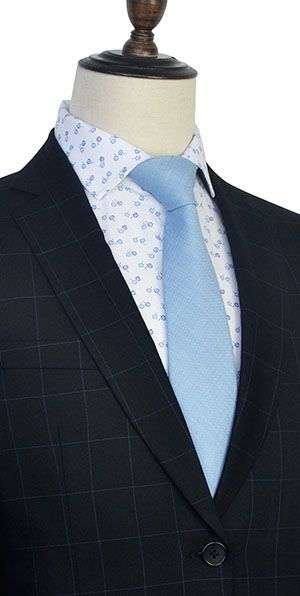 Black wool Three slant pocket checked suit for men