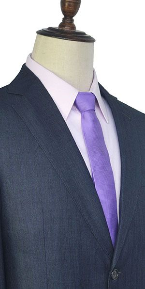 Dark grey purple wool stripe two botton suit for men