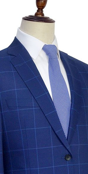 The blue plaid wool Notched lapel custom suit for men
