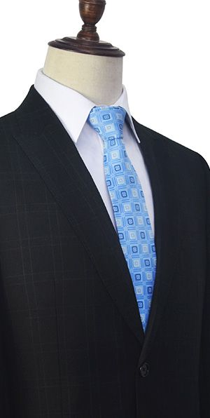 Black plaid wool two standard pocket custom suit for formal
