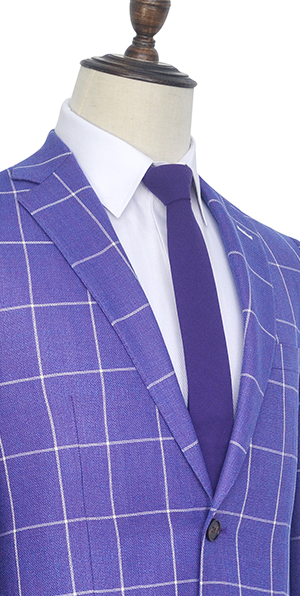 Violet purple wool two Patch pockets custom suit for men