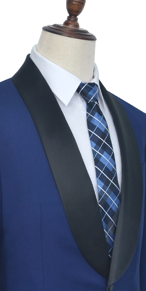 Dark blue wool Shoal lapel wedding suit for groom