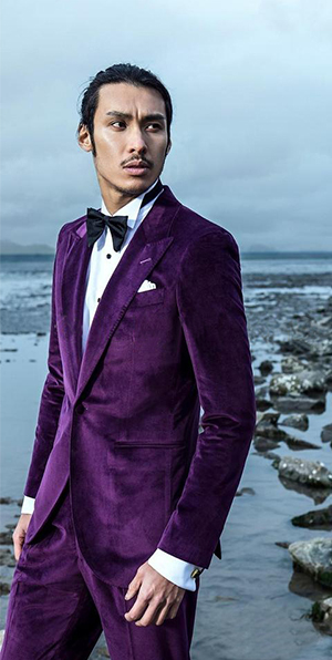 Purple velvet Peak lapel custom wedding suit for groom