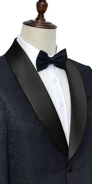 Pure black jacquard Shoal lapel wedding customized suits