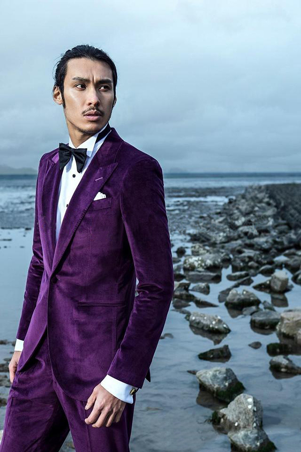 Purple velvet Peak lapel custom wedding suit for groom