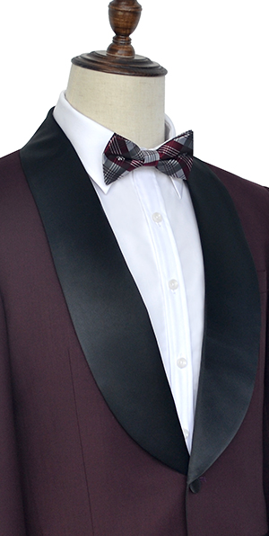 Maroon black shawl collar wool one botton wedding suit for groom