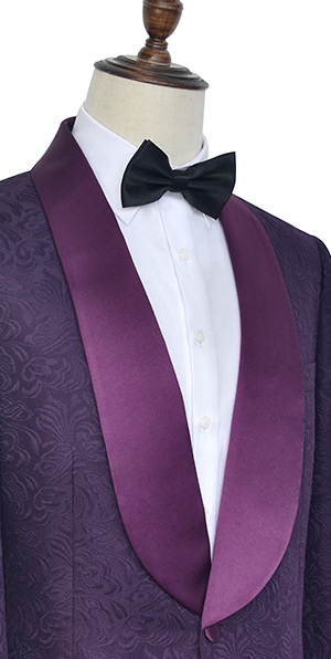 Deep purple jacquard one button customized suit