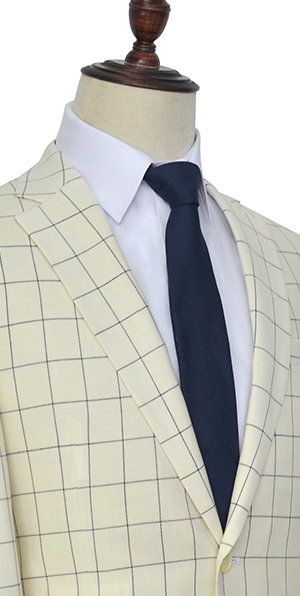 Cream white wool large lattice two button  thin leisure tailored suit for men