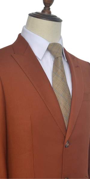 rust red wool two button custom suit for office