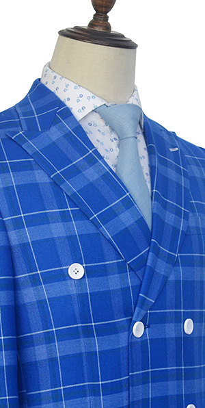 Blue double grid wool double breasted custom suit for men