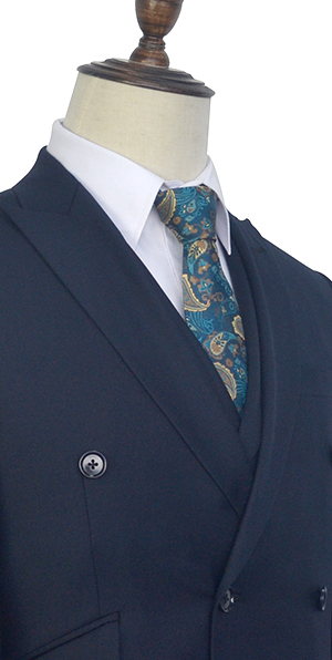 Dark blue wool double-breasted Custom suit for formal